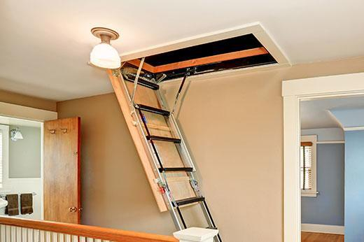 Attic ladder pulled down