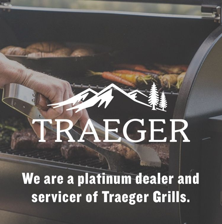 Traeger Grill with logo - We are a platinum dealer and servicer of Traeger Grills