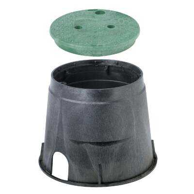 NDS 10 In. Round Black & Green Valve Box with Cover