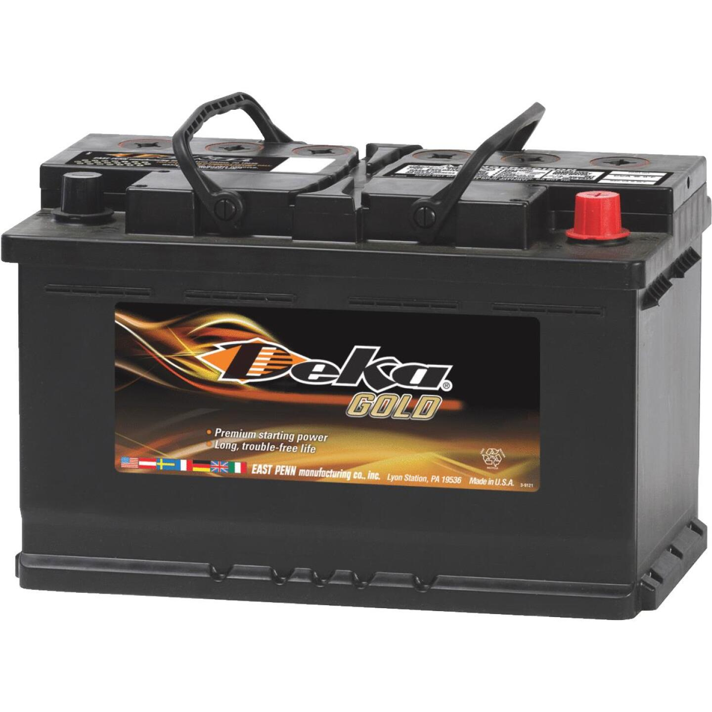 Deka Gold 12-Volt 790 CCA Automotive Battery, Top Post Right Front Positive Terminal Image 1