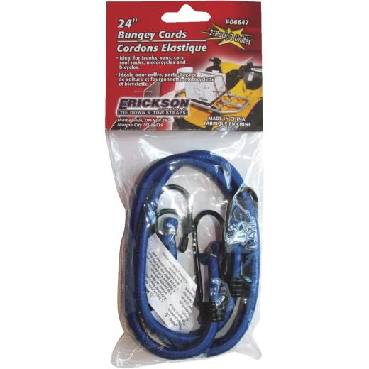 "Erickson 8mm x 24"" Vinyl Coated Steel Bungee Cord Set"