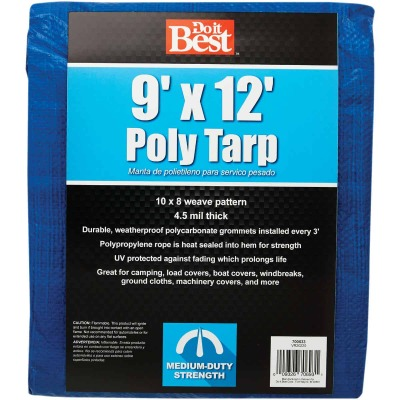 Do it Best Blue Woven 9 Ft. x 12 Ft. Medium Duty Poly Tarp