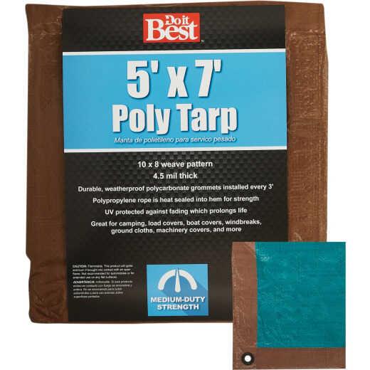 Do it Best 1 Side Green/1 Side Brown Woven 5 Ft. x 7 Ft. Medium Duty Poly Tarp