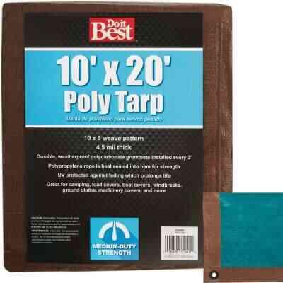Do it Best 1 Side Green/1 Side Brown Woven 10 Ft. x 20 Ft. Medium Duty Poly Tarp