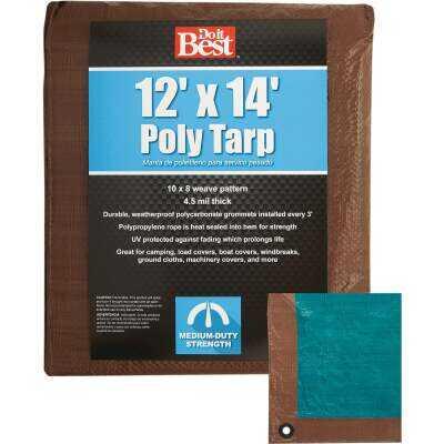 Do it Best 1 Side Green/1 Side Brown Woven 12 Ft. x 14 Ft. Medium Duty Poly Tarp